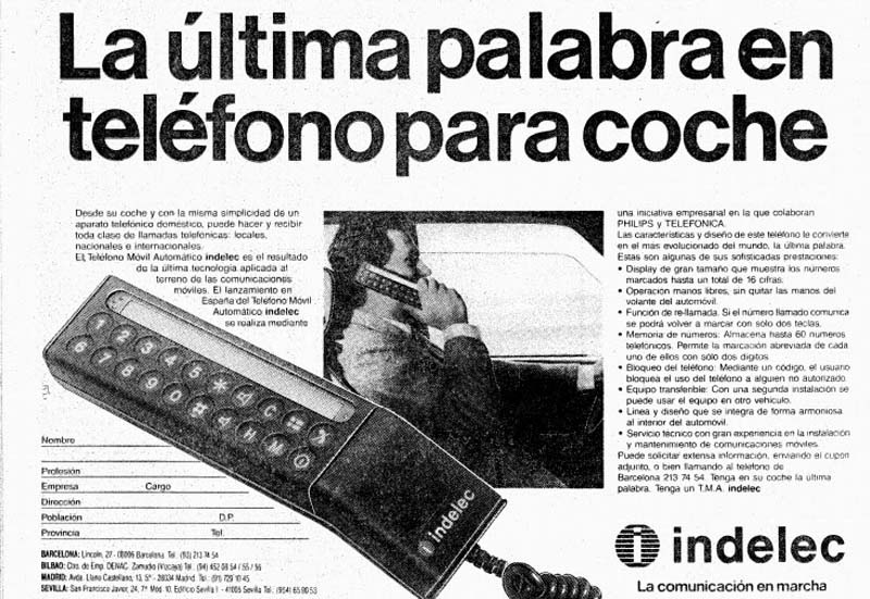 Teléfono móvil para coche Indelec (1986)